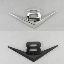 Auto Auto V8 Chrom Silber Schwarz Logo 3D Auto Decals Adhesive Abzeichen Emblem Metall V8 embleme Aufkleber Styling Auto Dekoration