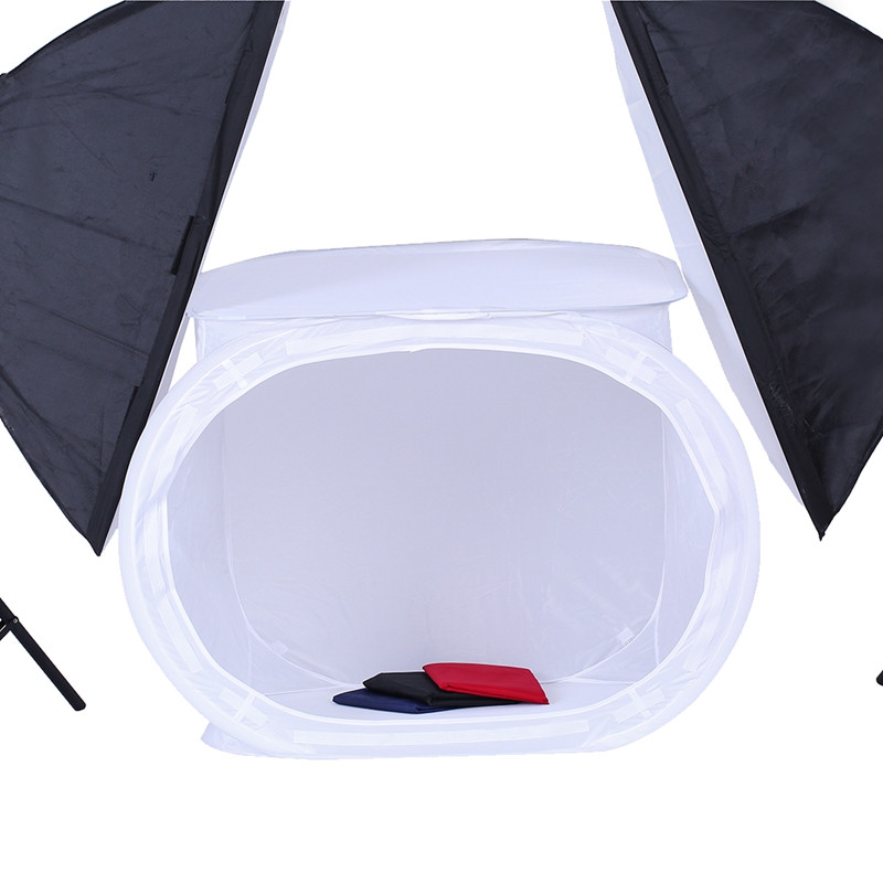 CY Envío Gratis 50x50 cm de Alta calidad 2017 1 Unidades multifunción Photo Studio Shooting Tent Light SoftBox Soft Box con 4 Fondos