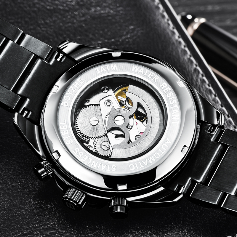 BOYZHE Automatic Watch Men Brand Stainless Steel Water Resistant Mechanical Watches Mens Sport chronograph relogio masculino