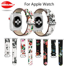 Leather Watchband For Apple Watch 38mm 42mm Series 1 2 3 Leather Vintage peony Print Replacement Band Steel Buckle Wrist Strap