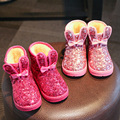 Botas de meninas 2016 Novo Kds Botas de Neve de Inverno para As Meninas Que Bling Paillette Crianças Bonito Botas de Inverno Quente de Pelúcia de Algodão-Botas acolchoadas
