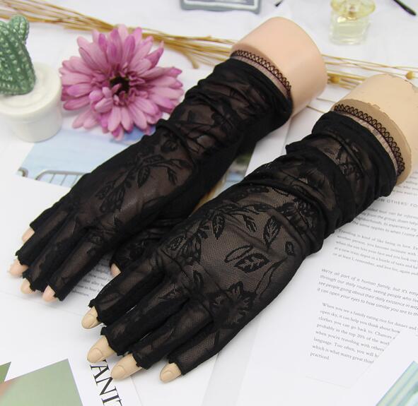 Women's Spring Summer Uv Protection Sunscreen Fingerless Driving Gloves Summer Slip-proof Breathable Medium Long Lace Glove R870