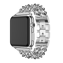 Banda para Apple Watch Band 38mm 42mm aleación correa de acero para iWatch Band Series 1 2 3 4 pulsera de cadena de 40mm 44mm estilo nuevo oro(China)