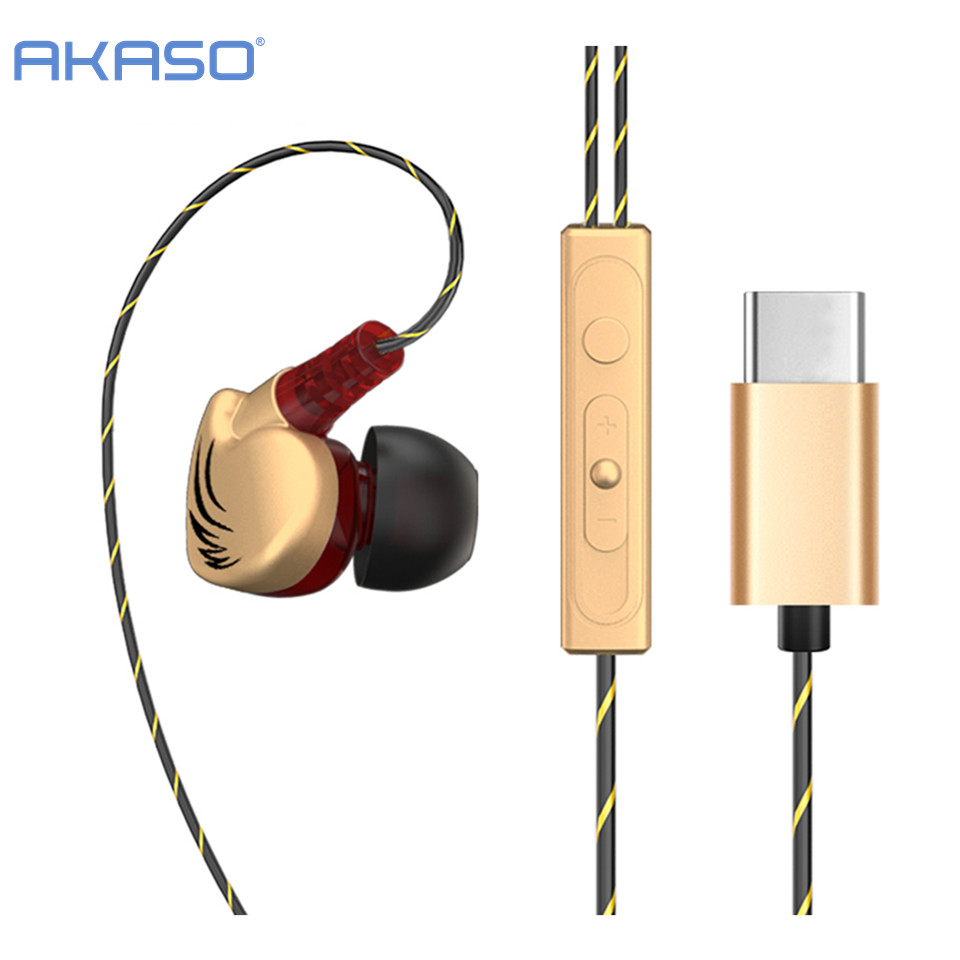 AKASO Type c Headphone with Mic Sport Ear Hook Super Bass Music Earphone Handsfree Headset for Leeco Le Max/2/Pro/3/S3 Earbuds ztto 11t mtb bicycle rear derailleur jockey wheel ceramic bearing pulley al7075 cnc road bike guide roller idler 4mm 5mm 6mm