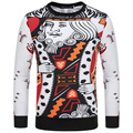 2016 High Quality Men Sweatshirts 3D Poker Print Funny Sweatshirts O Neck Long Sleeve Casual Slim Fit Men Pullovers M-3XL CC071