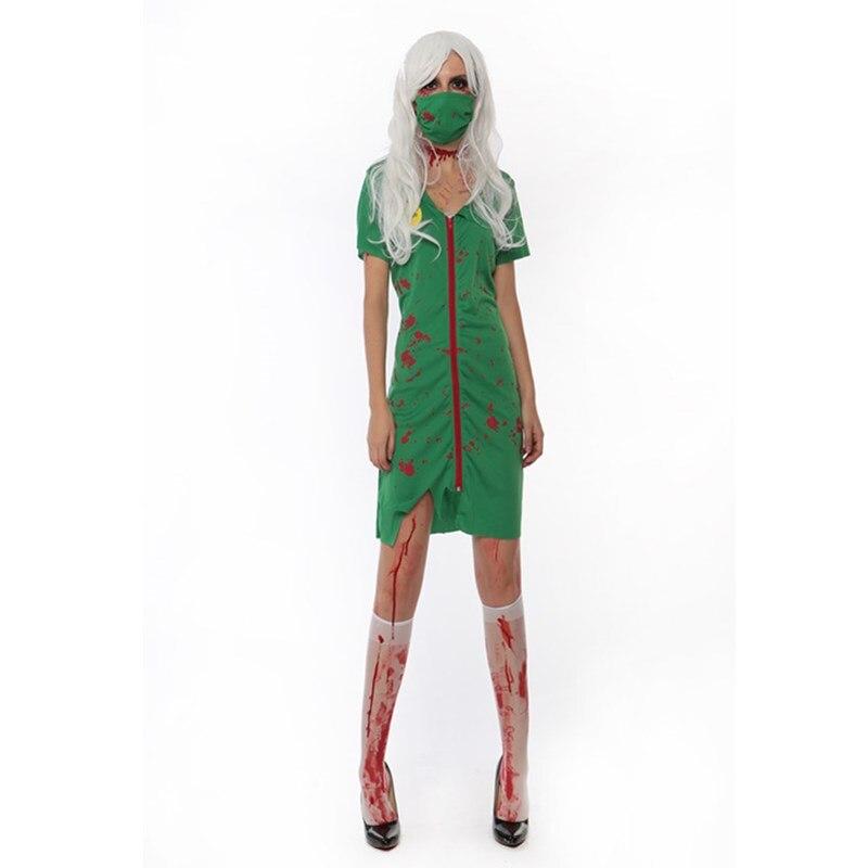 c4bb1ab9e2a6b مثير جديد وصول هالوين ازياء الأخضر ممرضة اللباس الكسول مصاصي الدماء تأثيري  لعب دور الممرضات ازياء disfraces يتوهم الإناث