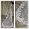 V51 Verdadeiro Luxo Elegante Longo Rendas Véu de Noiva 1 T 2 m Véu de Noiva Deslumbrante Acessório de Casamento Das Mulheres 2017