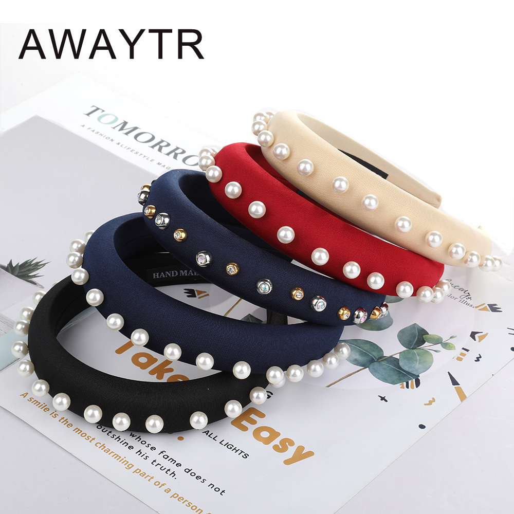 AWAYTR Fashion Velvet Pearl Hairband For Women Thick Headband Wide Street Beat Girl Hair Band Hoop Fashion Korean Style   Headwear