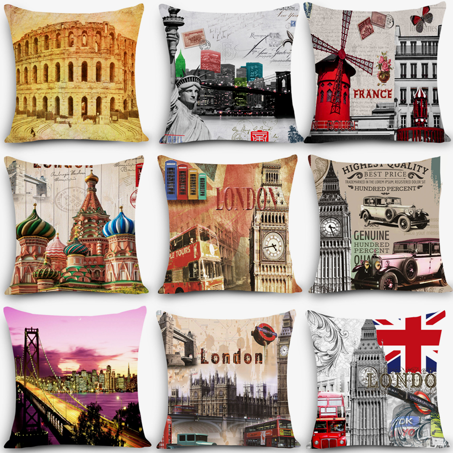 Retro Cushions Hot Sale Retro Cushions Scenic Paris Print Home Decorative