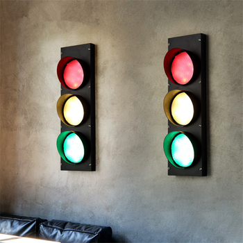 American Creative Personality Traffic Light Iron Art Retro Industrial Wind LED Lamp Coffee Shop Wall Lamp Free Shipping