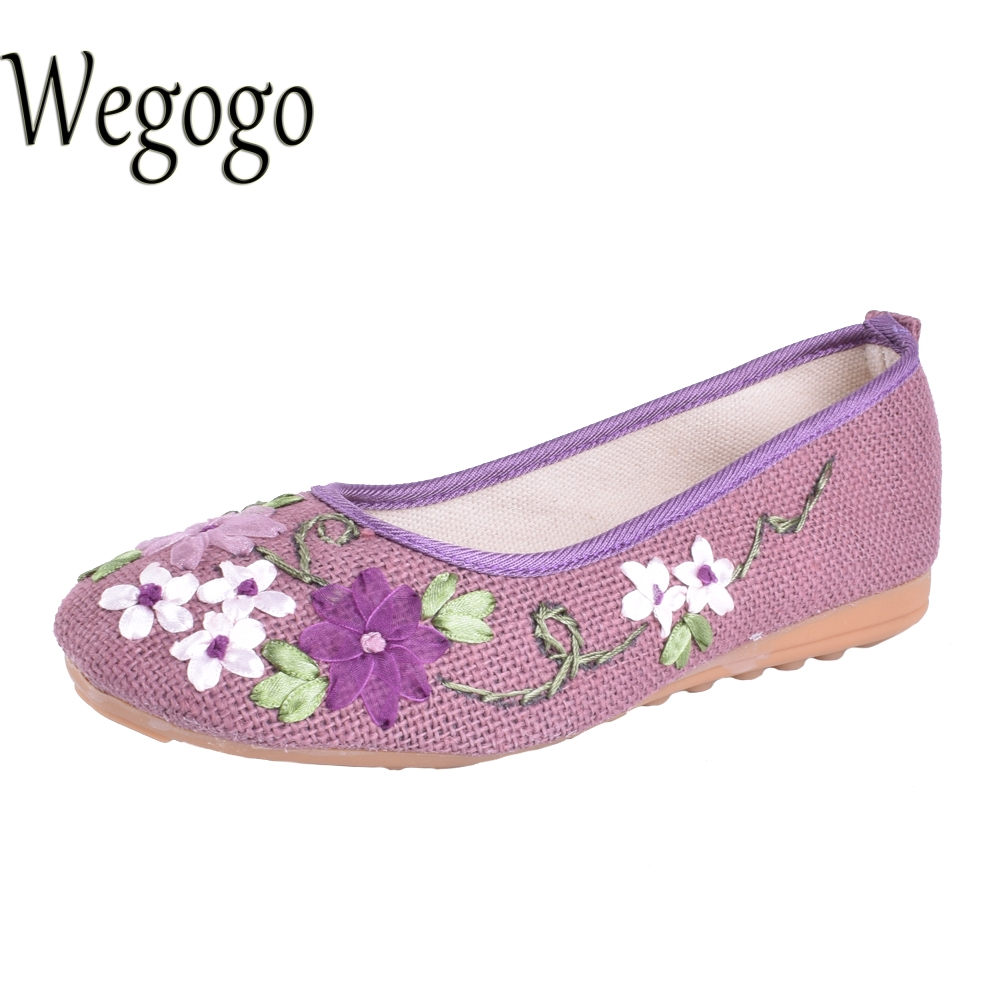 Vintage Women Flower Flats Slip On Cotton Fabric Casual Shoes Comfortable Round Toe Student Shoes Woman Size34-40 vintage women flats chinese fashion beads embroidered casual canvas shoes slip on shoes for woman white shoes