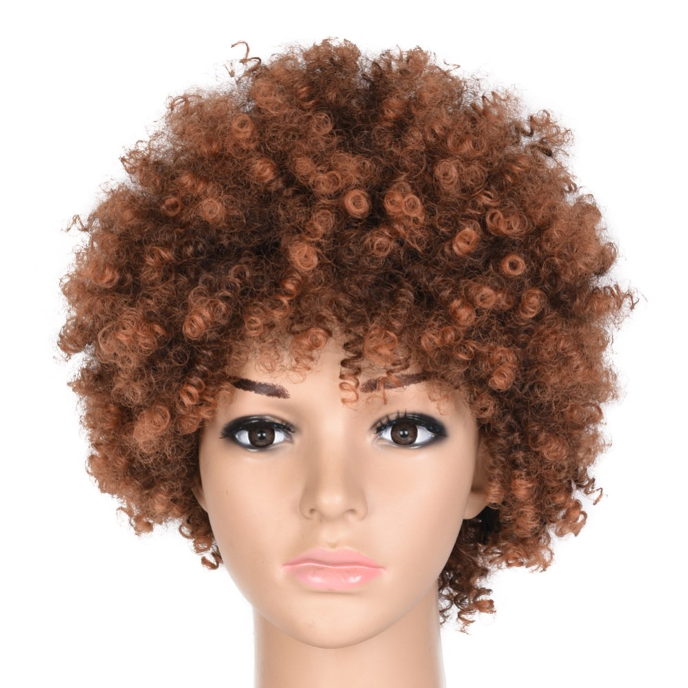 Feilimei Synthetic Ombre Kinky Curly Wigs For Women Natural Black Brown Short Afro Fake Hair Heat Resistant Female Wig