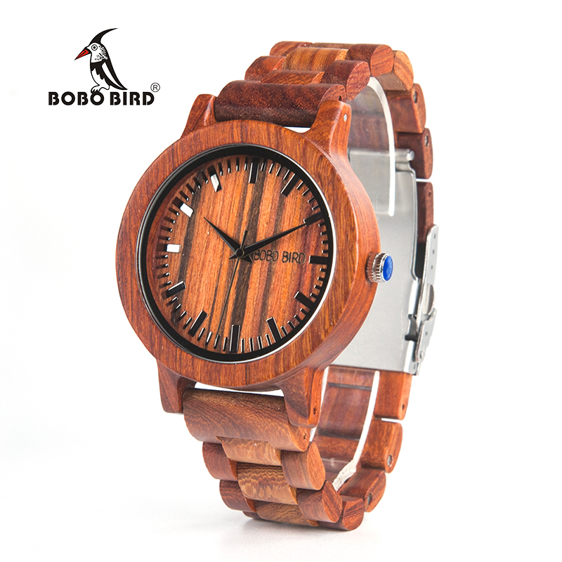 BOBO BIRD V-M10 New Arrival Mens Watch Ebony Wood Dial All Wood Quartz Wristwatch in Gift Box reloj hombre 2017 bobo bird wh05 brand design classic ebony wooden mens watch full wood strap quartz watches lightweight gift for men in wood box