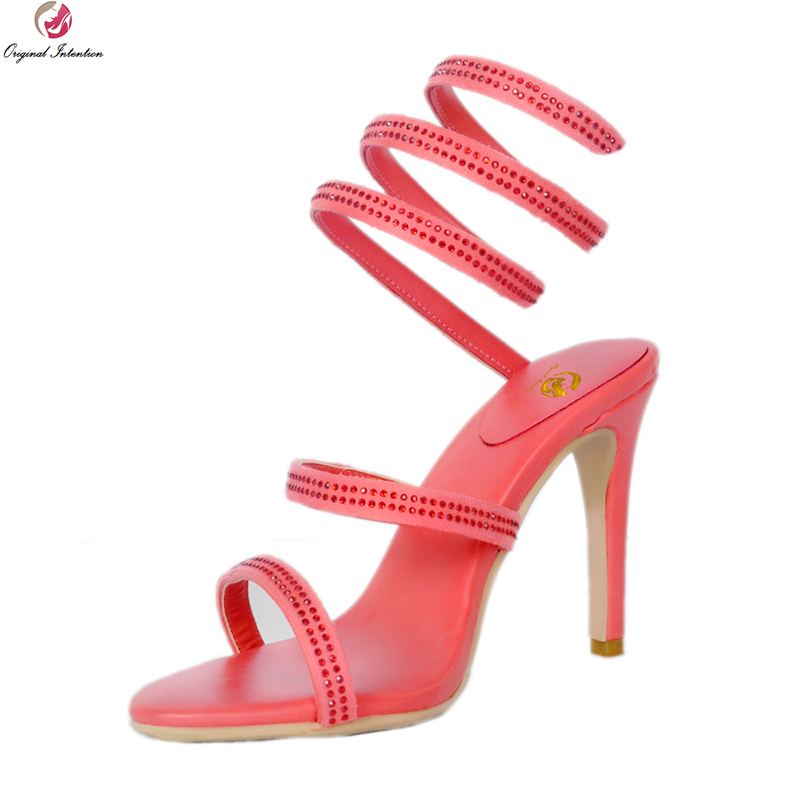 Original Intention New Fashion Women Sandals Elegant Rhinestone Open Toe Thin Heels Sandals Popular Red Shoes Woman US Size 4-9 hot selling sexy sloid thin heels sandals woman new desig lace red white black sandals peep toe elegant for women free sipping