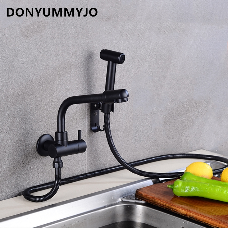 DONYUMMYJO New Black Painted Brass Finish Faucet Kitchen Sink Bathroom Balcony Faucet With Sprayer Wall InstallationDONYUMMYJO New Black Painted Brass Finish Faucet Kitchen Sink Bathroom Balcony Faucet With Sprayer Wall Installation
