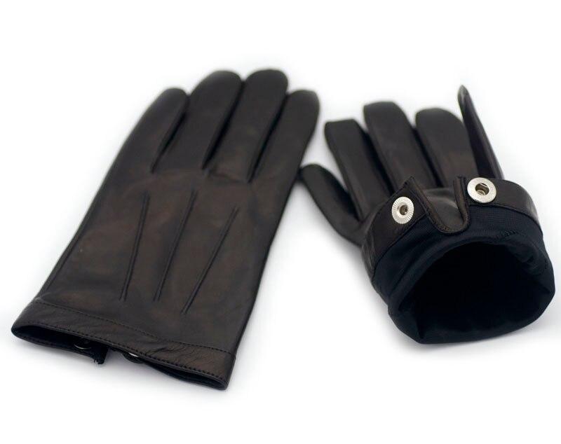 Calharmon hommes une pièce entière de cuir poignet bouton top gants en cuir noir - 6