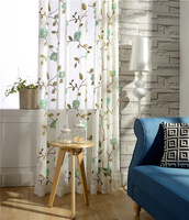 Cotton And Linen Fabric Embroidery Tulle Sheer Window Curtains Girls Living Room Bedding Room Elegent Yarn