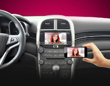 Wireless Airplay Miracast car mirror box connecting your smart phone to car dvd player by aux input