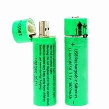 1PCS USB high power battery charging socket 18650 3.7v 3800mah flashlight batteries Mini rechargeable Flashlight Battery