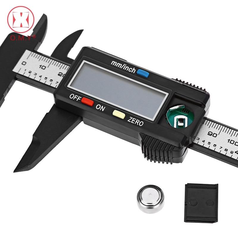O.M.Y 1pcs Measuring Tool 0-150mm 6 Inch Plastic LCD Digital Electronic Carbon Fiber Vernier Caliper Rule Gauge Micrometer