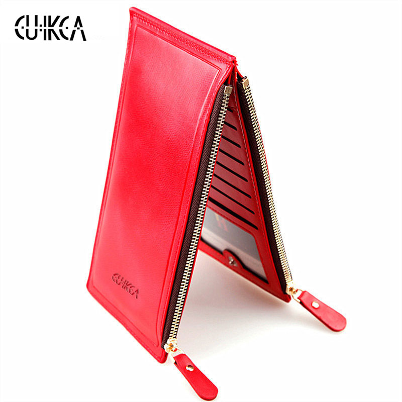 CUIKCA New Women Wallet Solid Double Zippers Hasp Clutch Ladies Carteira Coins Wallet Female Purse ID Credit Card Holders Cases 2016 new pu leather hasp ladies wallet female small short purse for women for coins credit card holder dollar price carteira