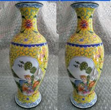 Ancient Chinese colored enamel copper mother and child, a pair of vases