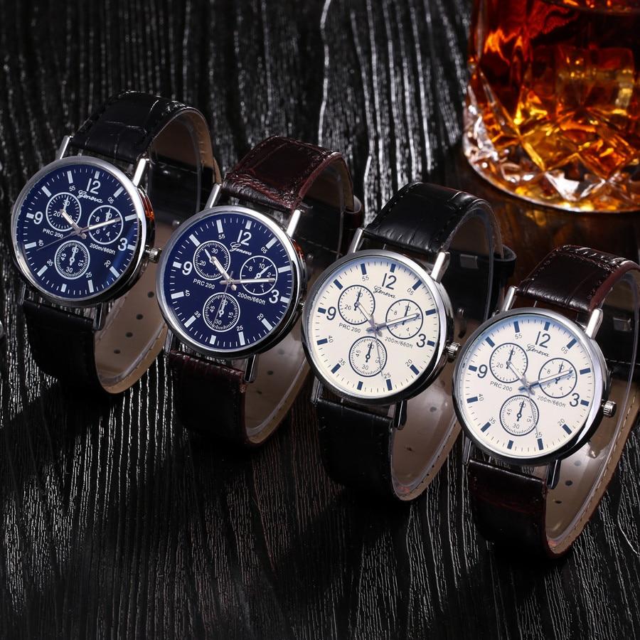 Часы мужские, модные, повседневные, Роскошные, кожаные, черные, с стеклом Blu Ray, кварцевые, имитирующие наручные часы A40