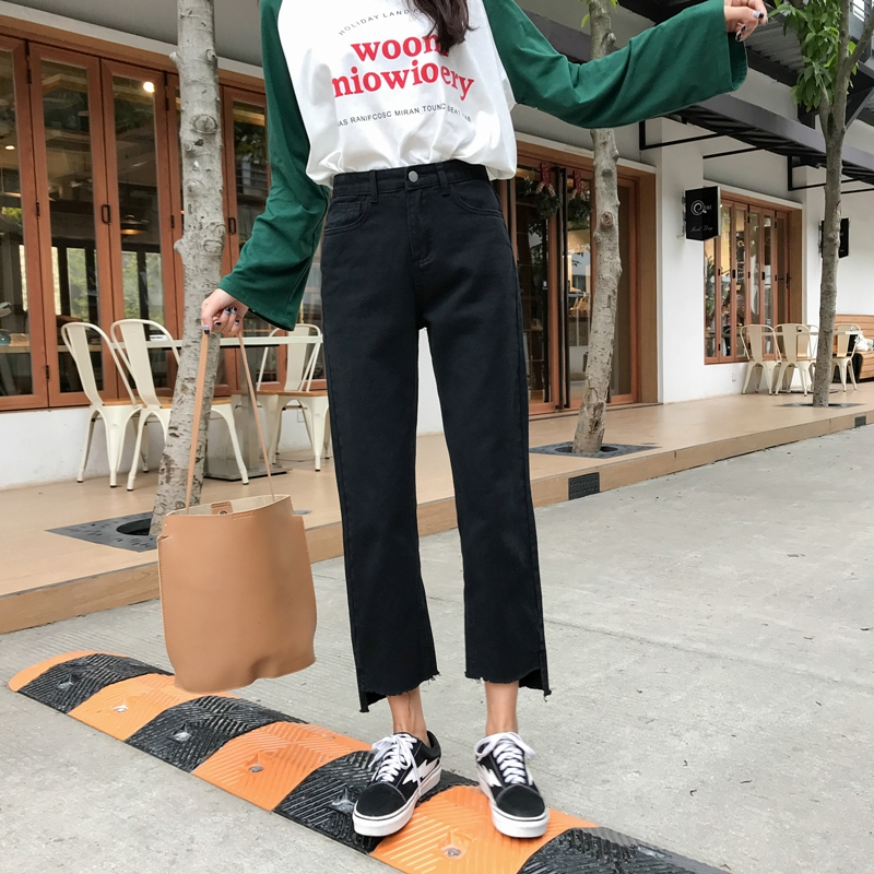 new Korean version of loose-legged   jeans   for students straight irregular fur-edged open-ended pants with 9-minute legs MP222