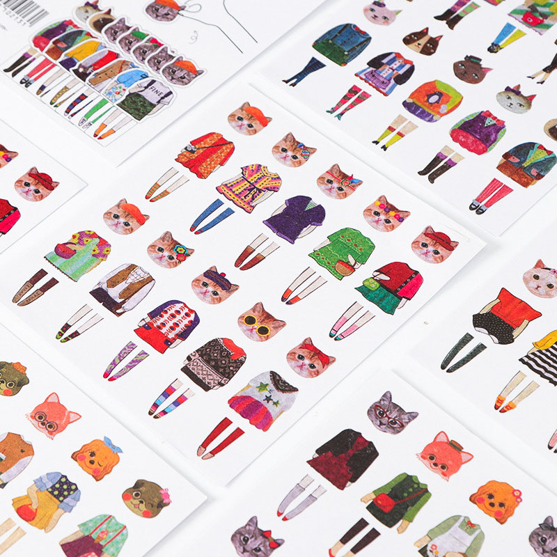 5pcs Cute Dog Stationery Stickers Kawaii Cat Stickers Novelty Adhesive Stickers For Kids DIY Scrapbooking Diary Photos Albums