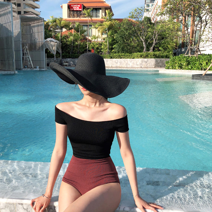 1 Piece Swimsuit Women Print Bathing Panties For Swimsuits Womens Swim Wear One New Sexy 2019 Cotton Patchwork Swim Wear