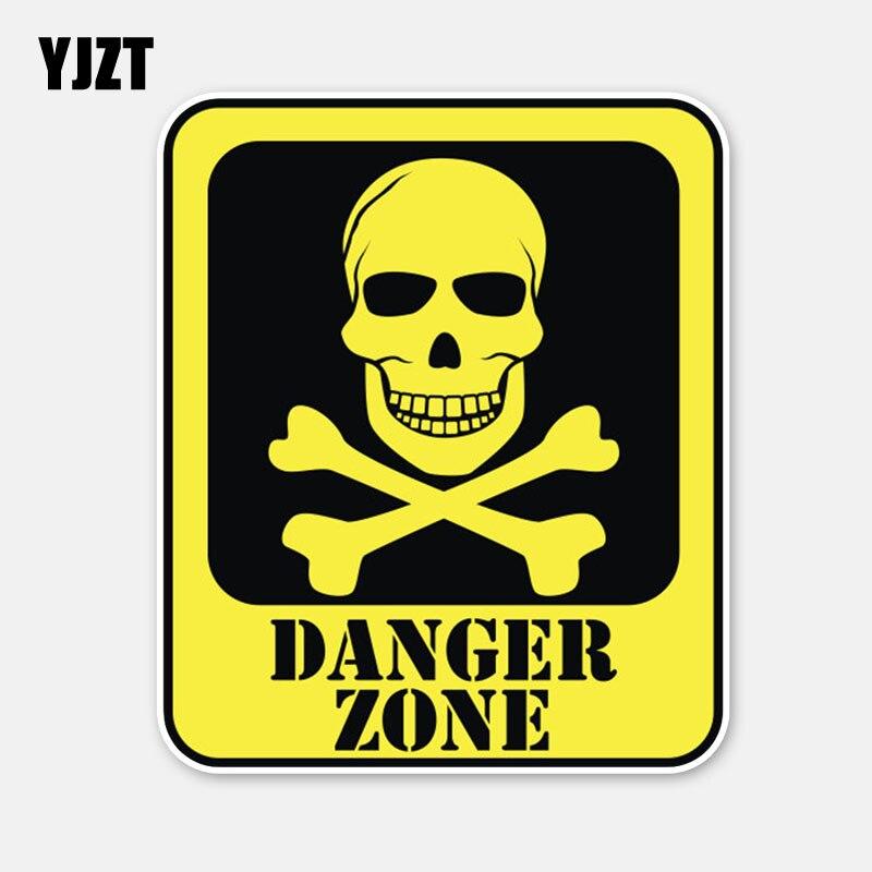 YJZT 11.5CM*9.7CM Car Styling Danger Zone Skull Head Warning Helmet Car Sticker Decal 6-3061