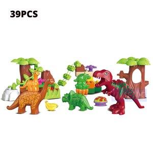 Image 2 - Umeile 15/39/65/100 Pcs Jurassic Dinosaurus Wereld Grote Bouwstenen Speelgoed Dier Set Baksteen Compatibel met Legoing Duplo Gift