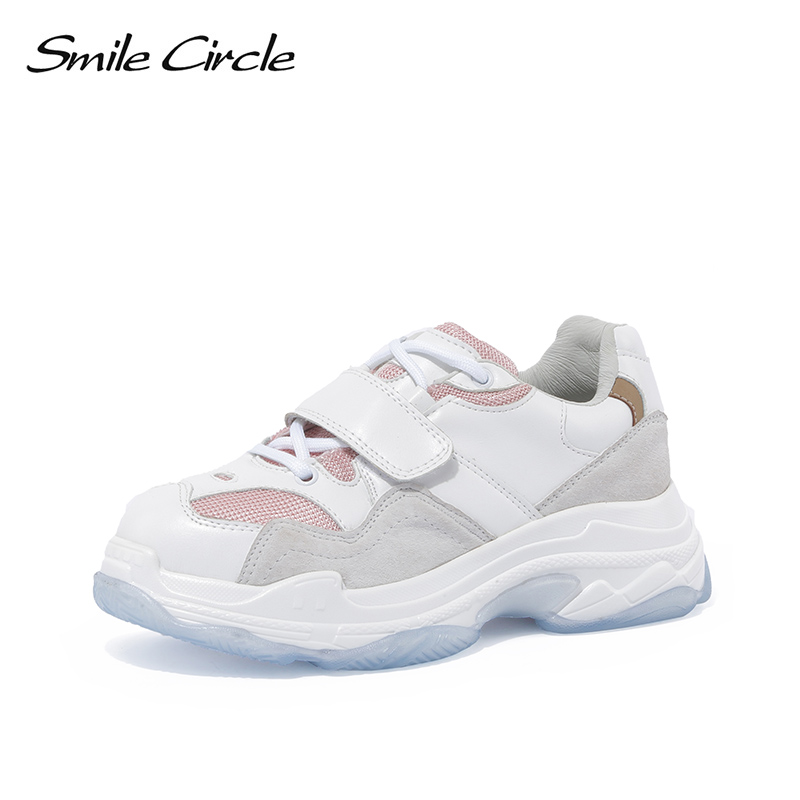 Smile Circle Chunky Sneakers Women Lace-up breathable Mesh Round toe casual shoes 2018 Autumn Thick bottom Shoes For women smile circle women chunky sneaker breathable mesh lace up thick bottom flat platform shoes for women autumn round toe sneakers