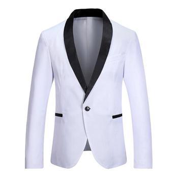 2019 Fashion Casual Men Costume Blazer Korea Business Jacket White Slim Fit Jacket Suit Blazer Jacket Stylish Men Elegant Blazer