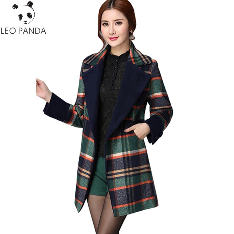 Nuevo abrigo de tela de lana de estilo de oficina de Invierno para mujer abrigo a cuadros 2019 talla grande chaqueta delgada de lana caliente Parka femenina LXT717-in Lana y mezclas from Ropa de mujer    1