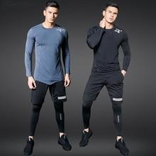 2fc29492 Conjuntos de correr de secado rápido para hombres, trajes deportivos de  compresión, mallas de baloncesto, ropa de gimnasio, Fitn.