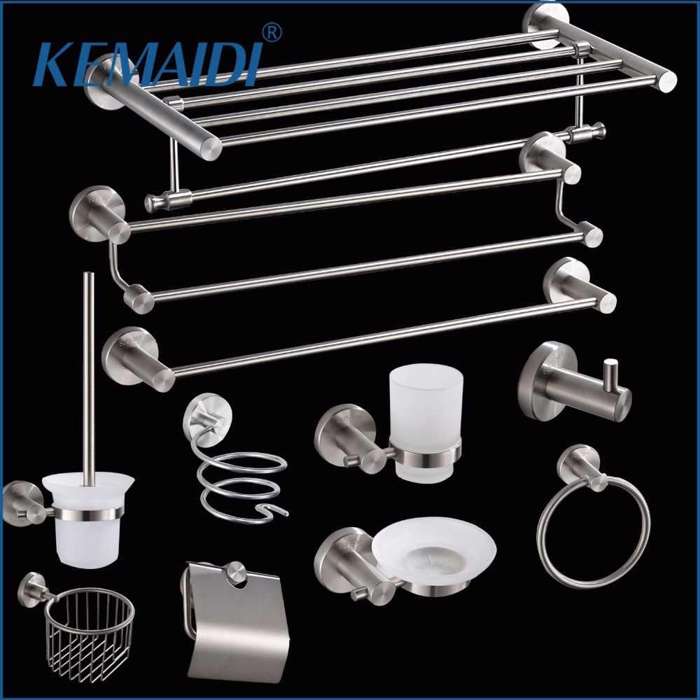 KEMAIDI accesorios de baño soporte de cepillo de dientes, caja de papel, anillo de toalla, gancho de tela, barra de toalla, soporte de papel higiénico, juegos de baño nuevos