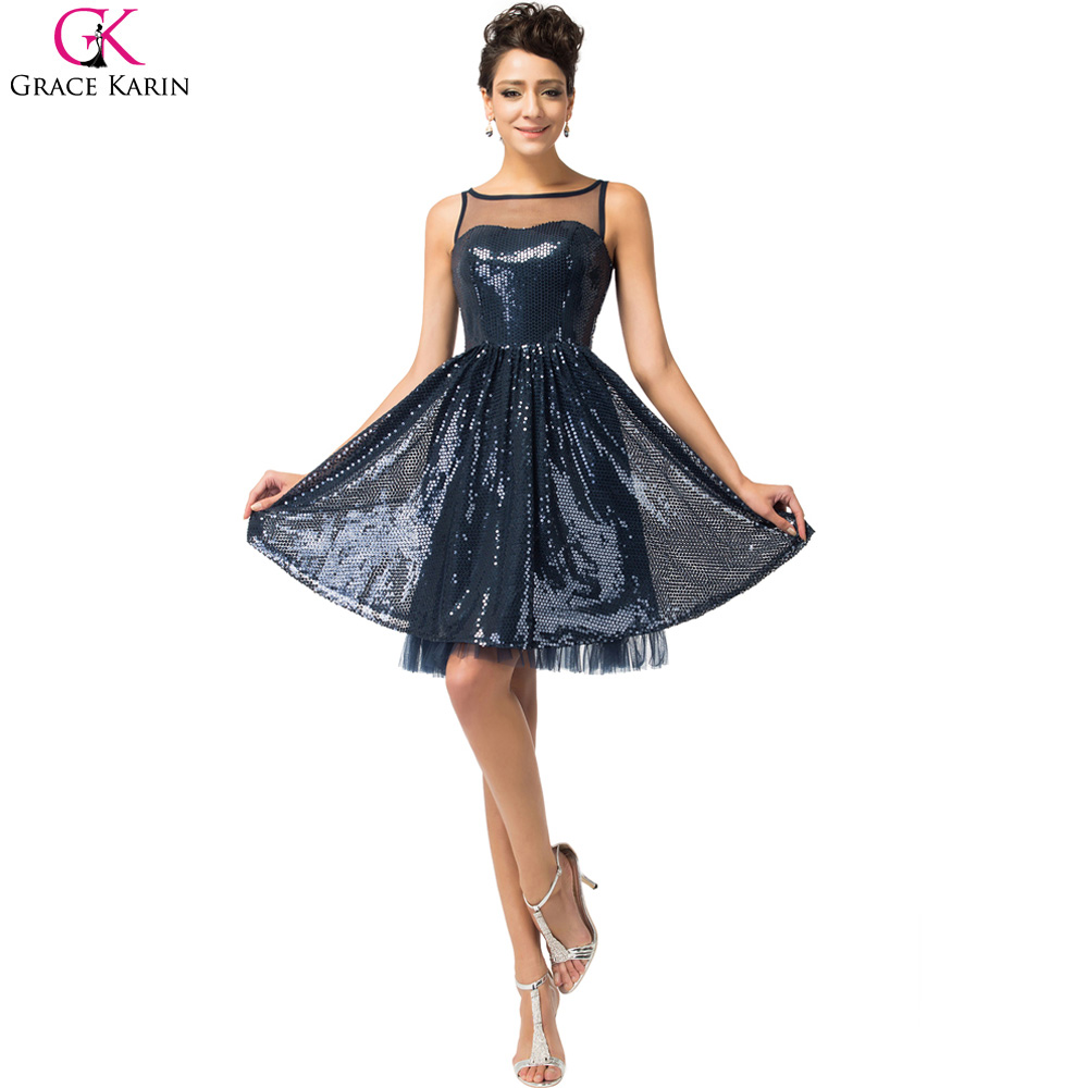 a150e6a6aa Real photo grace karin vestidos de coctel azul marino corto cocktail party dress  lujo lentejuelas longitud de la rodilla cóctel dress en Vestidos de cóctel  ...