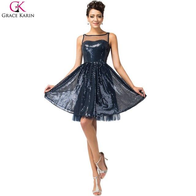 b3807ec53 Real photo grace karin vestidos de coctel azul marino corto cocktail party  dress lujo lentejuelas longitud