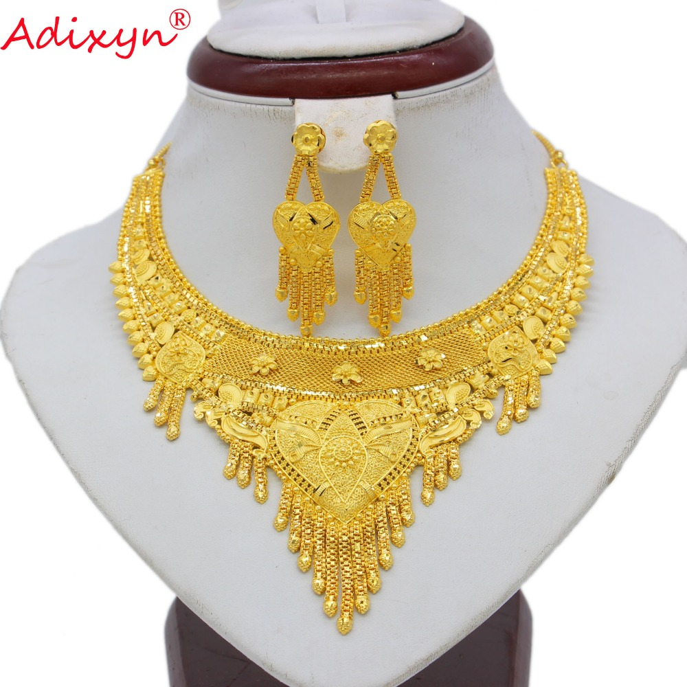 Adixyn TWO DESIGH India Necklace Earrings Set Jewelry Women Girls Gold Color Arab/Ethiopian/African Wedding Gifts N062211