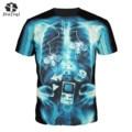 JIAYIQI Trendy Women T-shirt Mysterious Human Skeleton Bright Punk Rock Design Funny Print Short Sleeve T-Shirt