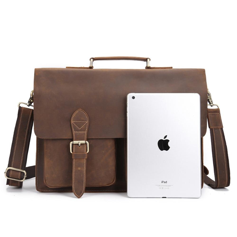 Genuine Leather Business Briefcase for Men Male Shoulder Crossbody 15.6 Inch Laptop Tote Vintage Messenger Portfolio Handbag Bag