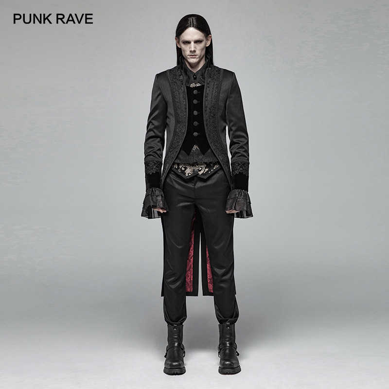 PUNK RAVE Men's Gothic Gorgeous Gentleman Swallow Tail Coat Party Club Stage Performance Man Long Jacket Visual Kei
