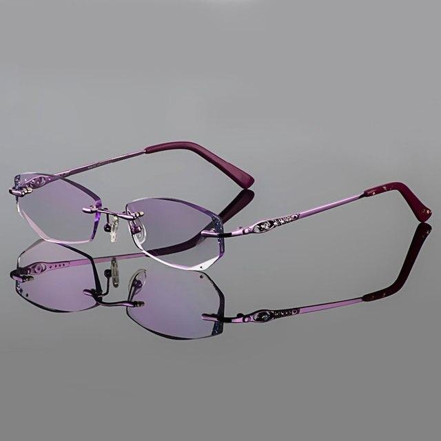 2015 Фантом обрезки титана очки женские модели алмаз кристалл обрезки Фиолетовый оправы готовой очки по рецепту