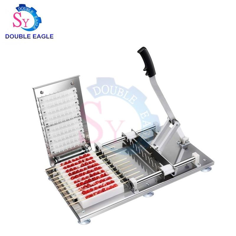 Household Manual Stainless Steel Souvlaki Skewer Tools Mutton Beef Meat Shashlik Skewer Wearing Machine In Sri Lanka