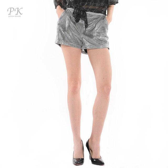 PK metallic short shorts beach women summer sexy hot party feminino gold foiled print short mesh feminino womens femme metallic