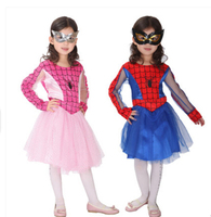 Free Shipping New Halloween Cosplay 110 135cm Clothing Kid Dress Mask Girl Spider Costume Hero Costume