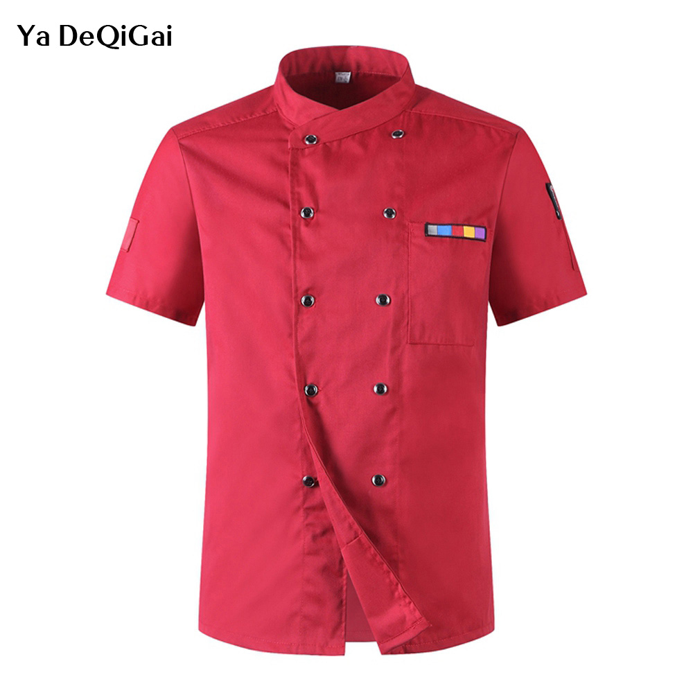 Food Service Wholesale Chef Jacket Hotel Sushi Uniform Short Sleeve Unisex Breathable Workwear Shirt Hotel Waitress Chef Uniform