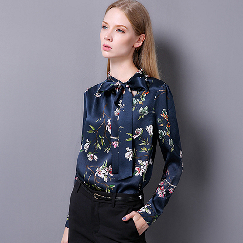 100% Silk Blouse Women Pullovers Shirt Printed Vintage Design Long Sleeves Office Work Top Elegant Style New Fashion 2017 kiind of new blue women s xl geometric printed sheer cropped blouse $49 016