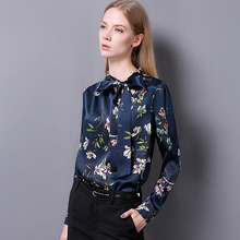 100% Silk Blouse Women Pullovers Shirt Printed Vintage Design Long Sleeves Office Work Top Elegant Style New Fashion 2017